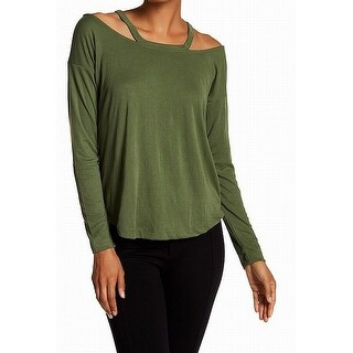 Harlowe & Graham Green Bronze Womens Size XS Cold-Shoulder Knit Top