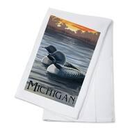 Michigan - Loons Scene - Lantern Press Artwork (100% Cotton Towel Absorbent)