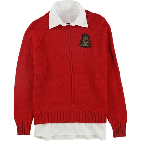 Ralph Lauren Womens Bullion-Patch Laye, Red, Large. Opens flyout.