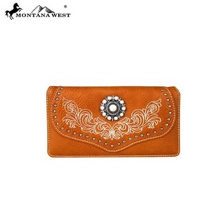 MW683-W010 Montana West Concho Collection Secretary Style Wallet-Brown
