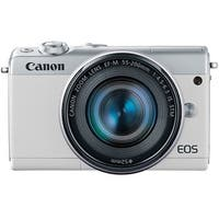 Canon EOS M100 Mirrorless Camera with EF-M 15-45mm and 55-200mm Lenses (White)