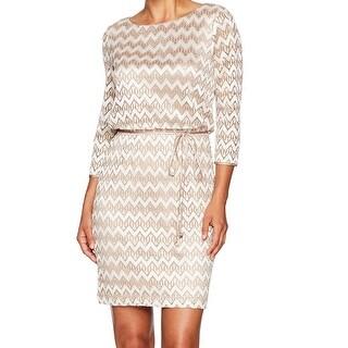 Jessica Howard Gold Womens Size 12P Petite Chevron Sheath Dress