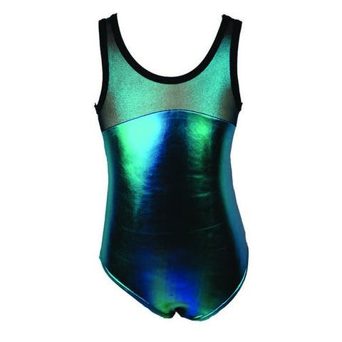 Reflectionz Little Girls Turquoise Two Tone Metallic Shine Dance Tank Leotard 6