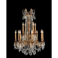 Worldwide Lighting W83309FG24-CL Windsor 12 Light Candle Style Crystal Chandelier - french gold