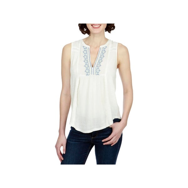 Lucky Brand Womens Pullover Top Embroidered Sleeveless