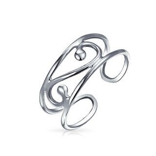 Silver Scroll Wide Midi Ring Adjustable Wire Swirl Toe Rings