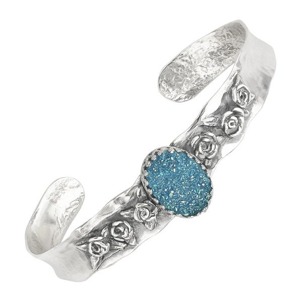 Sajen Oval Blue Druzy Quartz Flower Cuff Bracelet in Sterling Silver