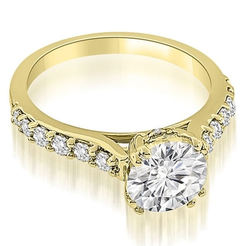 1.00 cttw. 14K Yellow Gold Cathedral Round Cut Diamond Engagement Ring