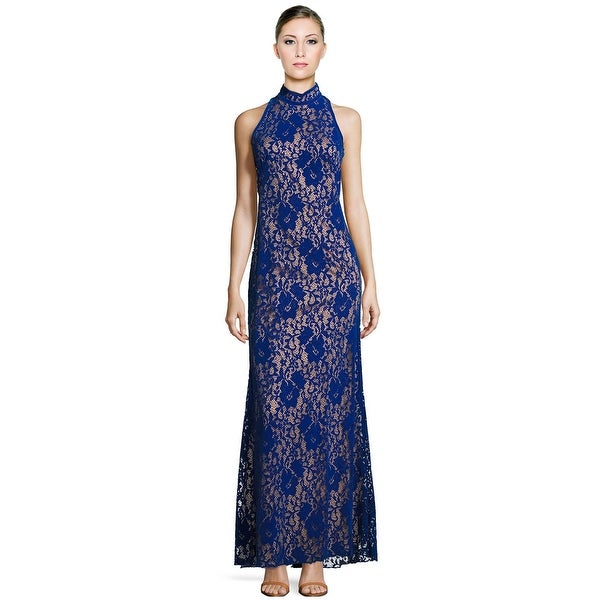 c59e78836daed Tadashi Shoji Halterneck Floral Lace Cutout Back Evening Gown Dress Jewel  Blue