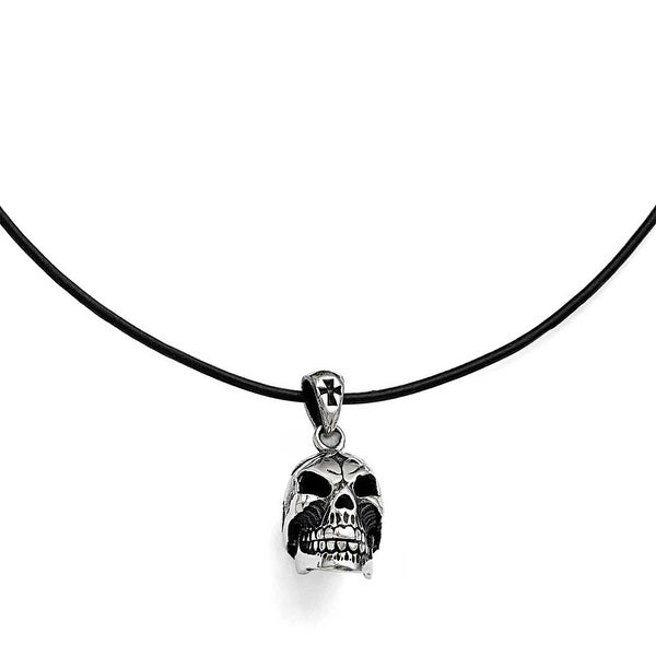 Chisel Stainless Steel Polished and Antiqued Moveable Skull Necklace - 20 in