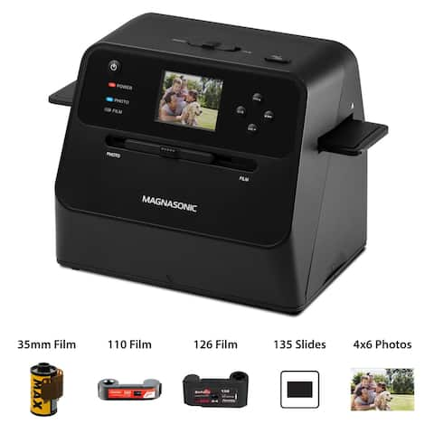 Magnasonic All-In-One Film & Photo Scanner, 14MP, Converts 4x6 Photos, 35mm/110/126 film & 135 slides