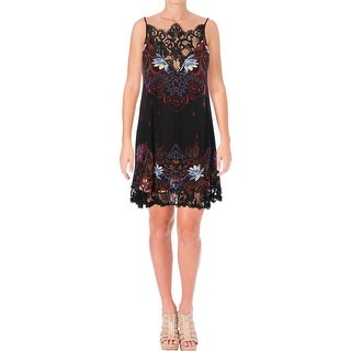 Free People Womens Who's Sorry Now Slip Dress Floral Print Racer Back
