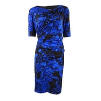 Connected Women's Soft Jersey Ruched 3/4 Sleeve Dress - ROYAL