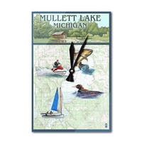 Mullett Lake, MI - Nautical Chart - LP Artwork (Acrylic Wall Clock) - acrylic wall clock