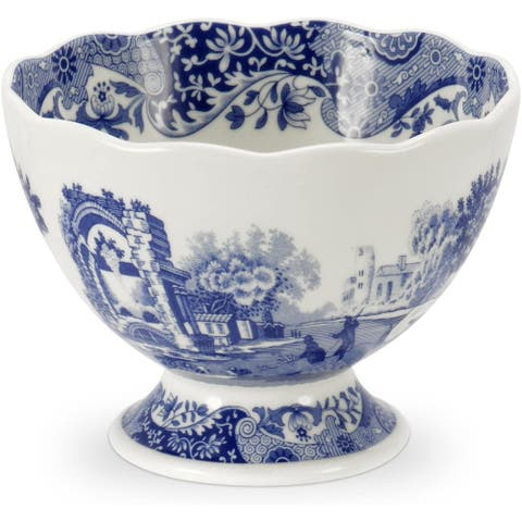 Spode Blue Italian Footed Serving Bowl - Blue/White