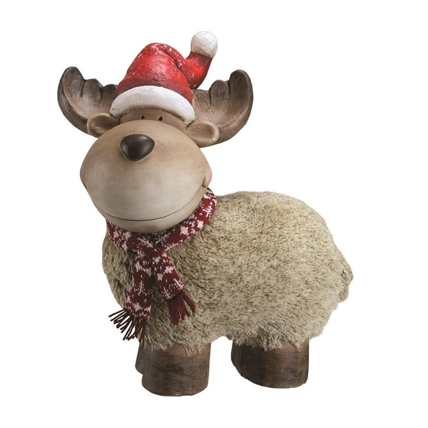 "17.25"" Whimsical Reindeer with Nordic Style Scarf and Santa Hat Christmas Table Top Decoration"