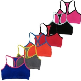 Women's 6 Pack Mesh Out Thin Straps Athletic Sports Bras Bralettes