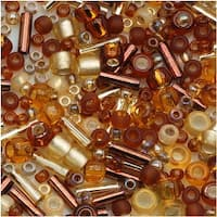 Toho Assorted Glass Beads 'Kohaku' Amber Mix 8g