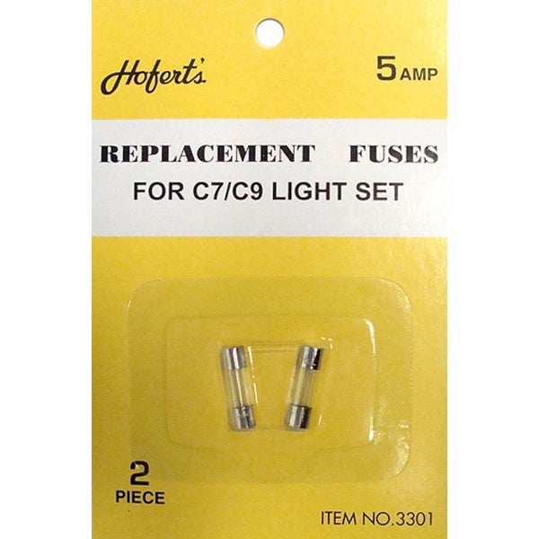Pack of 10 Replacement Fuses For C7 or C9 Christmas Lights - 5 Amps - CLEAR