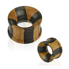 Organic Natural Jati and Areng Ebony Wood Concave Tunnel Double Flat Flared Plug (Sold Individually)
