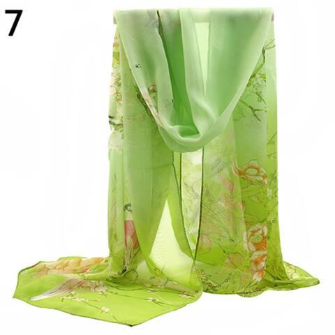 Fashion Women Long Chiffon Stole Scrawl Flower Printed Soft Sun Block Scarf