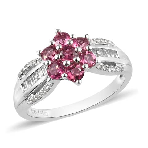Platinum Over 925 Silver Rubellite Zircon Flower Ring Size 10 Ct 1