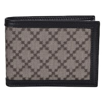 "Gucci Men's 233157 Black Beige Diamante Canvas Mini GG Guccissima Wallet - 4"" x 3"""