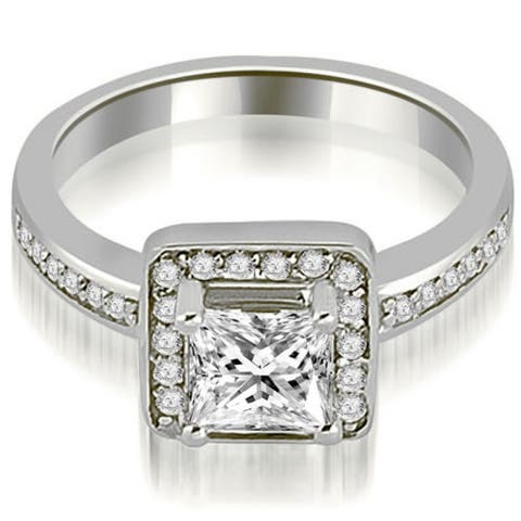 1.30 CT Halo Princess & Round Cut Diamond Engagement Ring in 14KT Gold - White H-I
