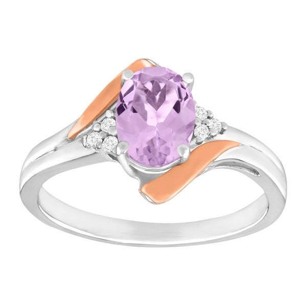 1 ct Natural Pink Amethyst Ring with Diamonds in Sterling Silver & 10K Rose Gold