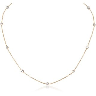 Humble Chic Simulated Diamond Station Necklace - Crystal CZ Cubic Zirconia Rhinestone Dainty Delicate Chain