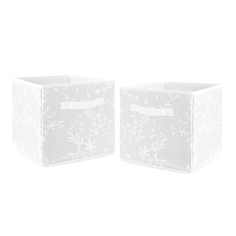 White Floral Vintage Lace Foldable Fabric Storage Bins - Solid Luxurious Elegant Princess Boho Shabby Chic Luxury Glam Flower