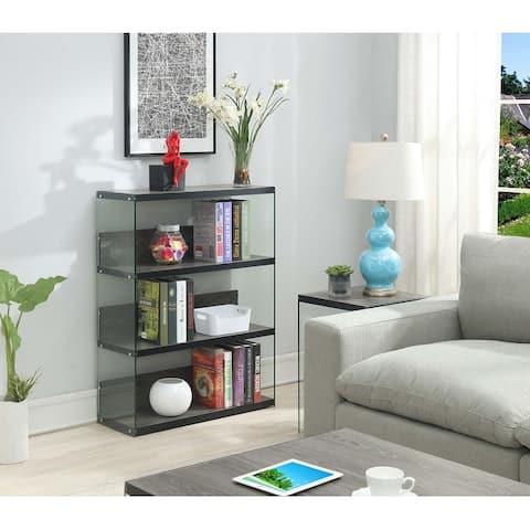 Porch & Den Urqhuart Glass/Wood 4-Tier Wide Bookcase