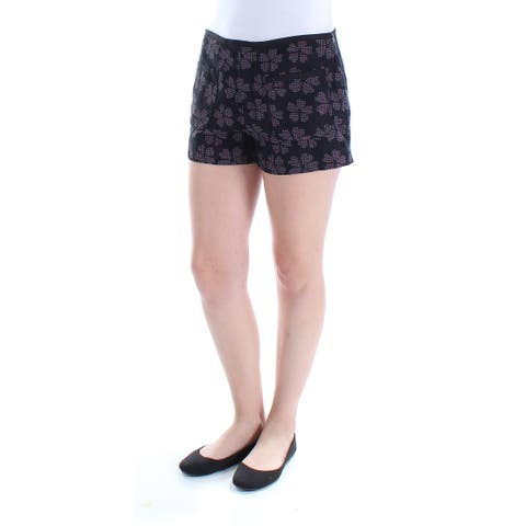 RACHEL ROY Womens Black Pocketed Floral Short Size: 4