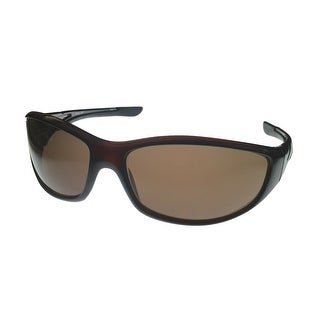 Timberland Mens Sunglass Dark Brown, Brown Lens Plastic Sport Wrap TB7093 50E - Medium