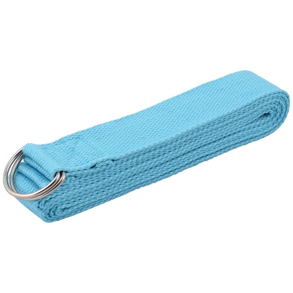 Cotton Blends D Shape Loop Stretching Exercise Yoga Strap Belt Blue 3.2M Length