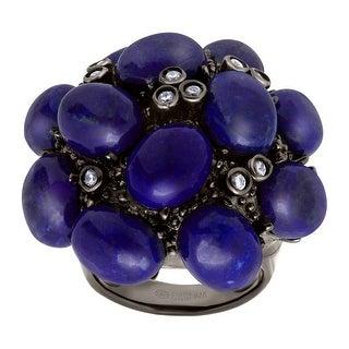 Cristina Sabatini Natural Lapiz Bouquet Ring in Black Rhodium-Plated Sterling Silver