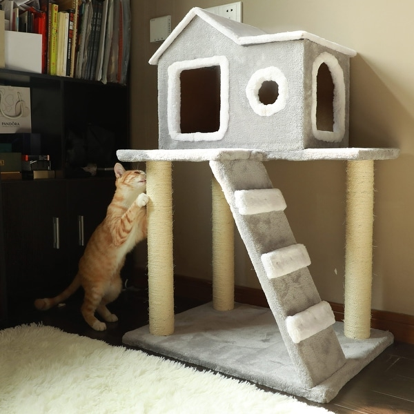 """CO-Z Cat Tree Condo Tower with Ladder and Scratching Posts - 24"""" x 18"""" x 35"""". Opens flyout."""