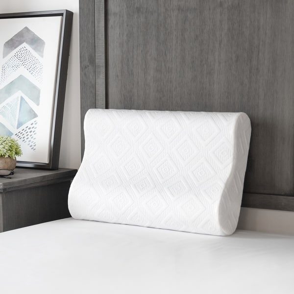 Sensorpedic Contour Memory Foam Pillow For Side And Back Sleepers White Overstock 31434837