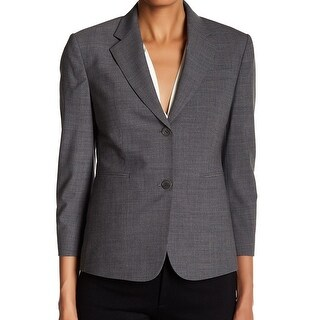 Theory NEW Gray Women's Size 12 Notched Collar Two-Button Blazer Wool