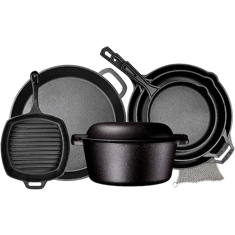 Pre Seasoned Cast Iron 8 Piece Bundle Camping Gift Set, Double Dutch, 16 inch Pizza Pan, 3 Skillets & Square Grill Pan
