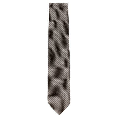 Tom Ford Mens Two Tone Brown Woven Checkered Plaid Patterned Classic Tie~RTL$275 - One Size