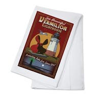 Ohio Vermilion Lighthouse Vintage Sign LP Artwork (100% Cotton Towel Absorbent)