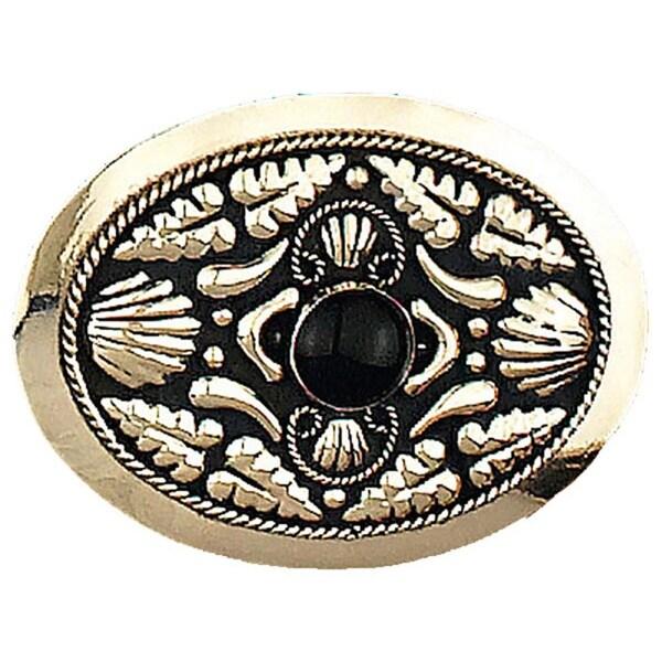 German Silver Tone Belt Buckle with Onyx Stone - One size