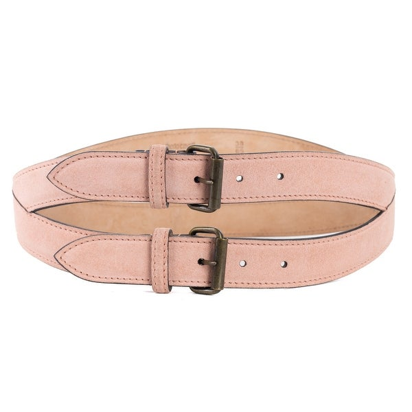 Roberto Cavalli Pink Spiral Stitched Double Suede Belt
