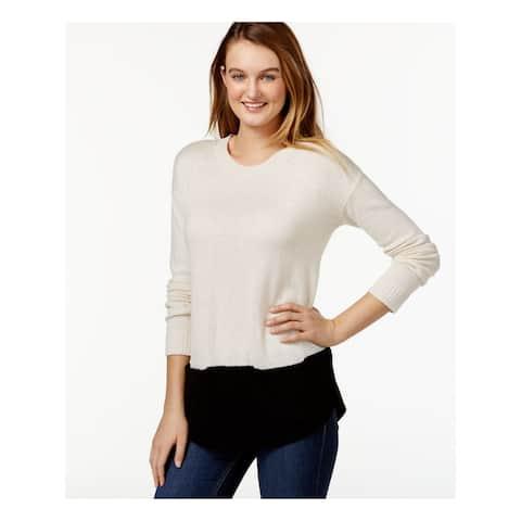 BASS Womens Ivory Layered Long Sleeve Tunic Top Size M