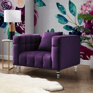"Link to Isabel Velvet Biscuit Tufted Lucite Leg Club Chair - 41"" x 33.8"" - 41"" x 33.8"" Similar Items in Living Room Chairs"