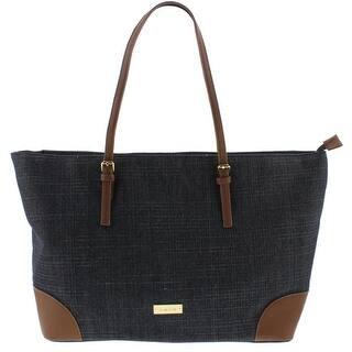 Bebe Womens Debbie Tote Handbag Faux Leather Trim Shopper - DENIM - Large|https://ak1.ostkcdn.com/images/products/is/images/direct/4538d12bcebf0123e4e40237f3da702779fa5f13/Bebe-Womens-Debbie-Tote-Handbag-Faux-Leather-Trim-Shopper.jpg?impolicy=medium