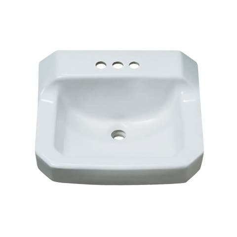 "PROFLO PF5414 19-5/8"" Wall Mounted Rectangular Bathroom Sink - 3 Holes - White"