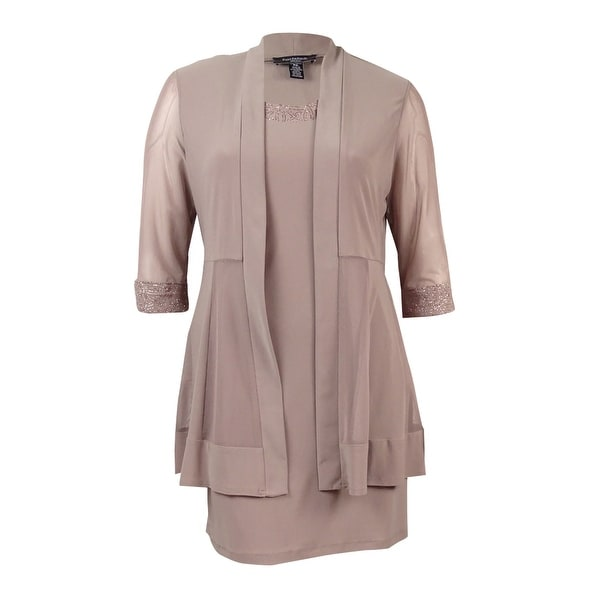 6e92f18fb37ac Shop R M Richards Women s Petite Metallic-Trim Shift Dress and ...