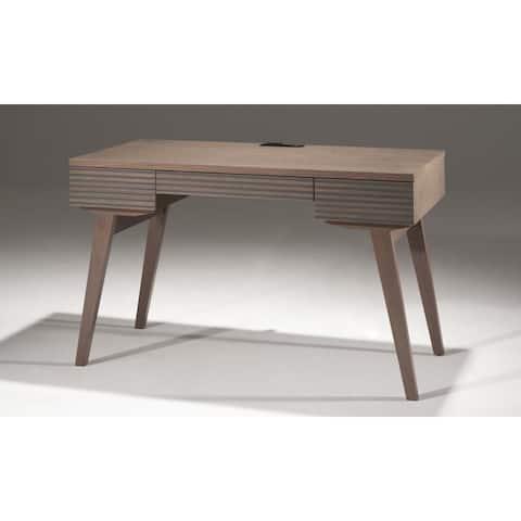 "48"" Mid - Century Modern Writing Desk with a coastal grey finish over Brazilian cherry veneers; solid Brazilian cherry wood legs"